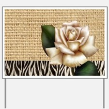 shabby chic burlap rose Yard Sign