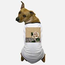 shabby chic burlap rose Dog T-Shirt