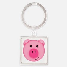 Cute Smiling Pink Country Farm Pig Keychains