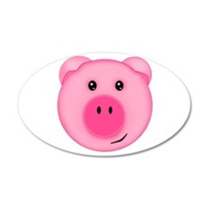 Cute Smiling Pink Country Farm Pig Wall Decal