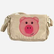 Cute Smiling Pink Country Farm Pig Messenger Bag