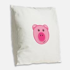 Cute Smiling Pink Country Farm Pig Burlap Throw Pi
