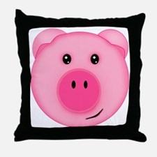 Cute Smiling Pink Country Farm Pig Throw Pillow