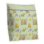 Bee Dance Floral Burlap Throw Pillow