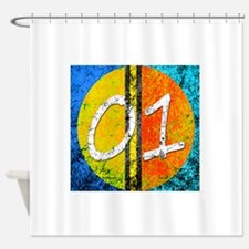 Number One Orange Yellow Blue Shower Curtain