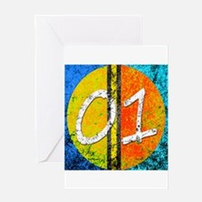 Number One Orange Yellow Blue Greeting Cards