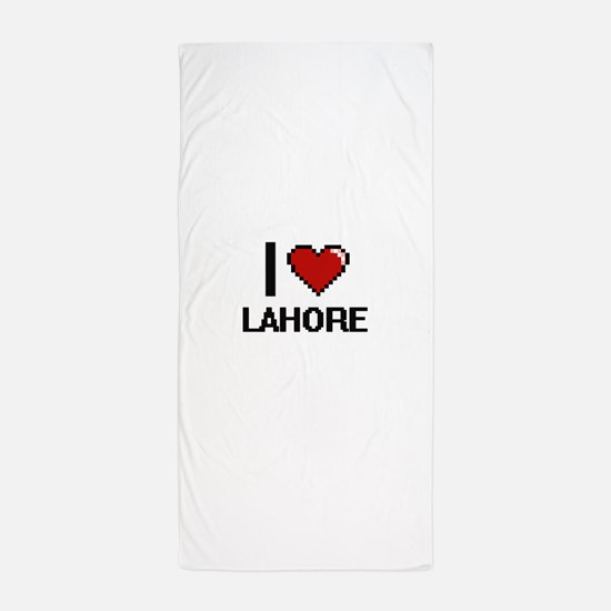 i love lahore digital design beach towel