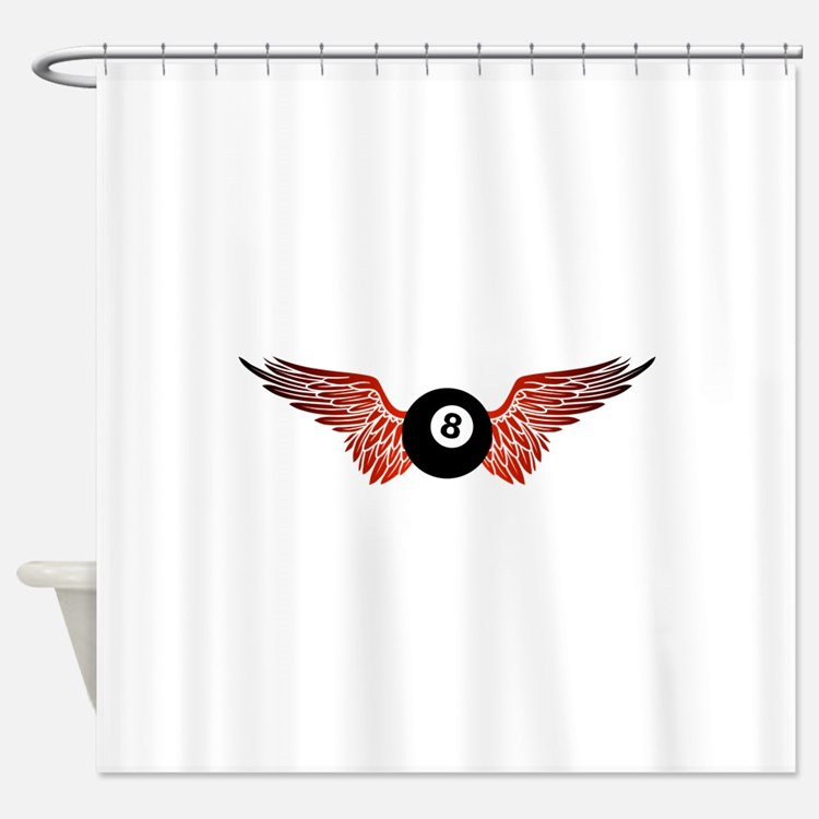 winged 8ball Shower Curtain