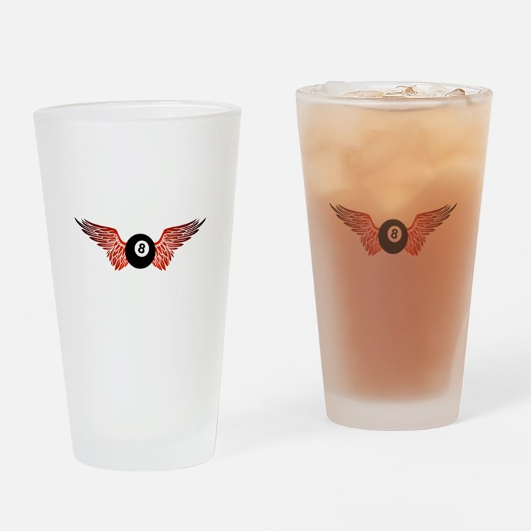winged 8ball Drinking Glass