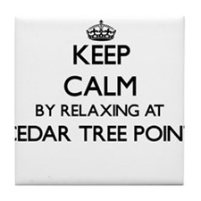 Keep calm by relaxing at Cedar Tree P Tile Coaster