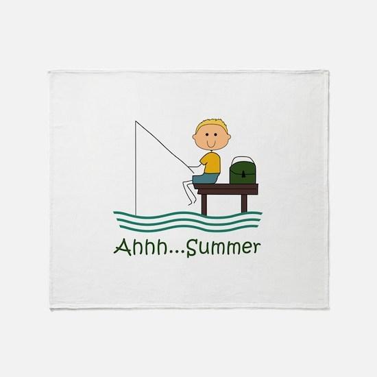 AHHH SUMMER FISHING Throw Blanket