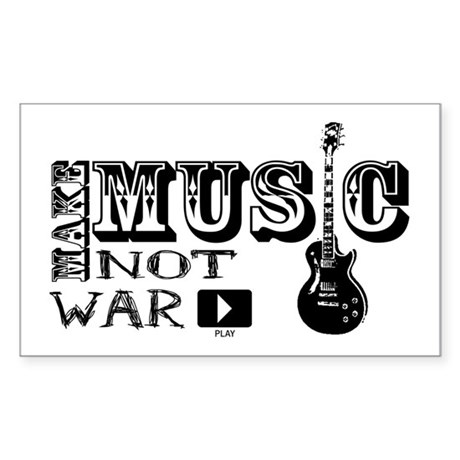 Make Music, Not War Rectangle Sticker