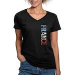 France Women's V-Neck Dark T-Shirt
