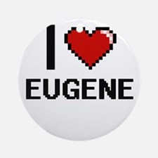 I love Eugene Digital Design Round Ornament