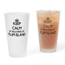 Keep calm by relaxing at Plum Islan Drinking Glass