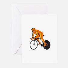 Cyclist Riding Cycling Racing Retro Greeting Cards