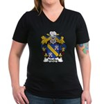 Abelda Family Crest Women's V-Neck Dark T-Shirt