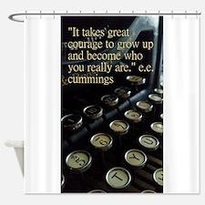 Courage Vintage Typewriter Shower Curtain