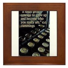Courage Vintage Typewriter Framed Tile