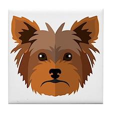 Cute Yorkie cartoon Tile Coaster