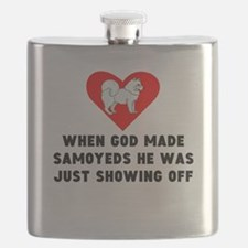 When God Made Samoyeds Flask