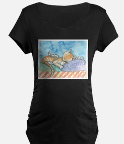 Mama and the Twins Tabby Cat and Maternity T-Shirt