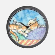 Mama and the Twins Tabby Cat and Kitten Wall Clock
