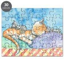 Mama and the Twins Tabby Cat and Kitten Art Puzzle