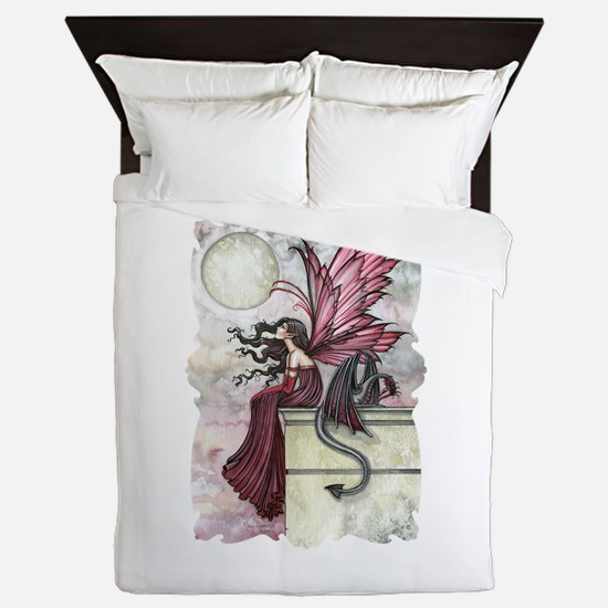 Restless Ruby Fairy and Dragon Fantasy Queen Duvet