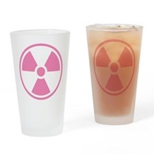 Pink Radioactive Symbol Drinking Glass