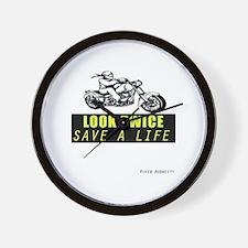 LOOK TWICE SAVE A LIFE Wall Clock