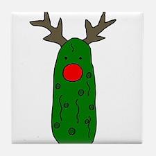 Funny Pickle Christmas Reindeer Tile Coaster