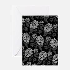 Black Dahlia Pattern Greeting Cards