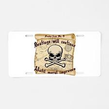 Pirates Law #8 Aluminum License Plate