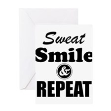 Sweat Smile and Repeat Workout Tank Greeting Cards