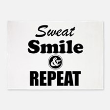 Sweat Smile and Repeat Workout Tank 5'x7'Area Rug