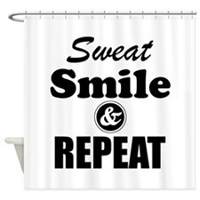 Sweat Smile and Repeat Workout Tank Shower Curtain