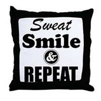 Sweat Smile and Repeat Workout Tank Throw Pillow