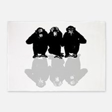 3 monkeys 5'x7'Area Rug