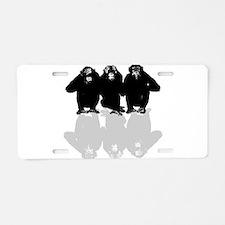 3 monkeys Aluminum License Plate