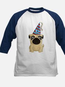 6th Birthday Pug Kids Baseball Jersey