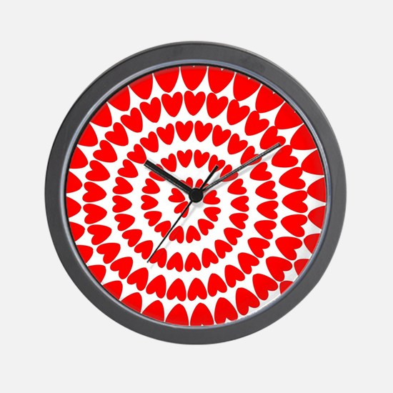 Red hearts spiral Wall Clock