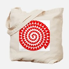 Red hearts spiral Tote Bag