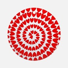 Red hearts spiral Round Ornament