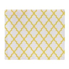 Canary Yellow Moroccan Quatrefoil Pa Throw Blanket
