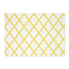 Canary Yellow Moroccan Quatrefoil P 5'x7'Area Rug