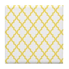 Canary Yellow Moroccan Quatrefoil Pat Tile Coaster