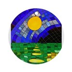 tmeret manymoons stained glass Round Ornament
