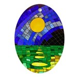 tmeret manymoons stained glass Oval Ornament