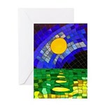tmeret manymoons stained glass Greeting Card